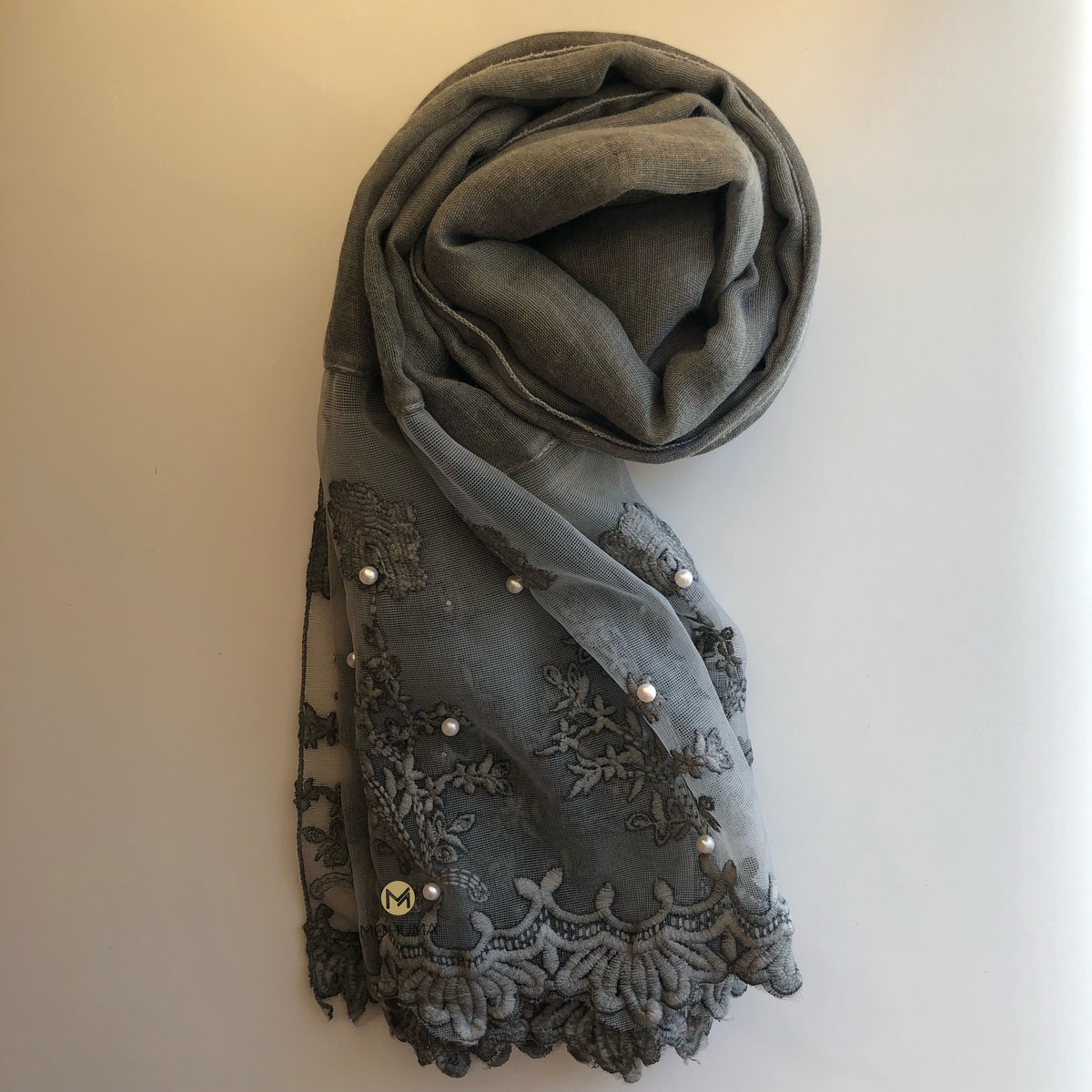 Luxurious Pearl Lace Hijab | Grey - Mohuma Modesty House