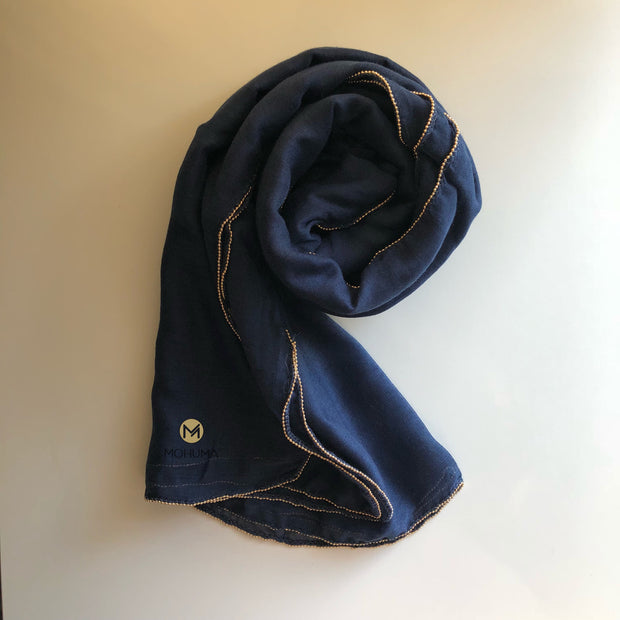Gold Beaded Hijab | Navy Blue - Mohuma Modesty House