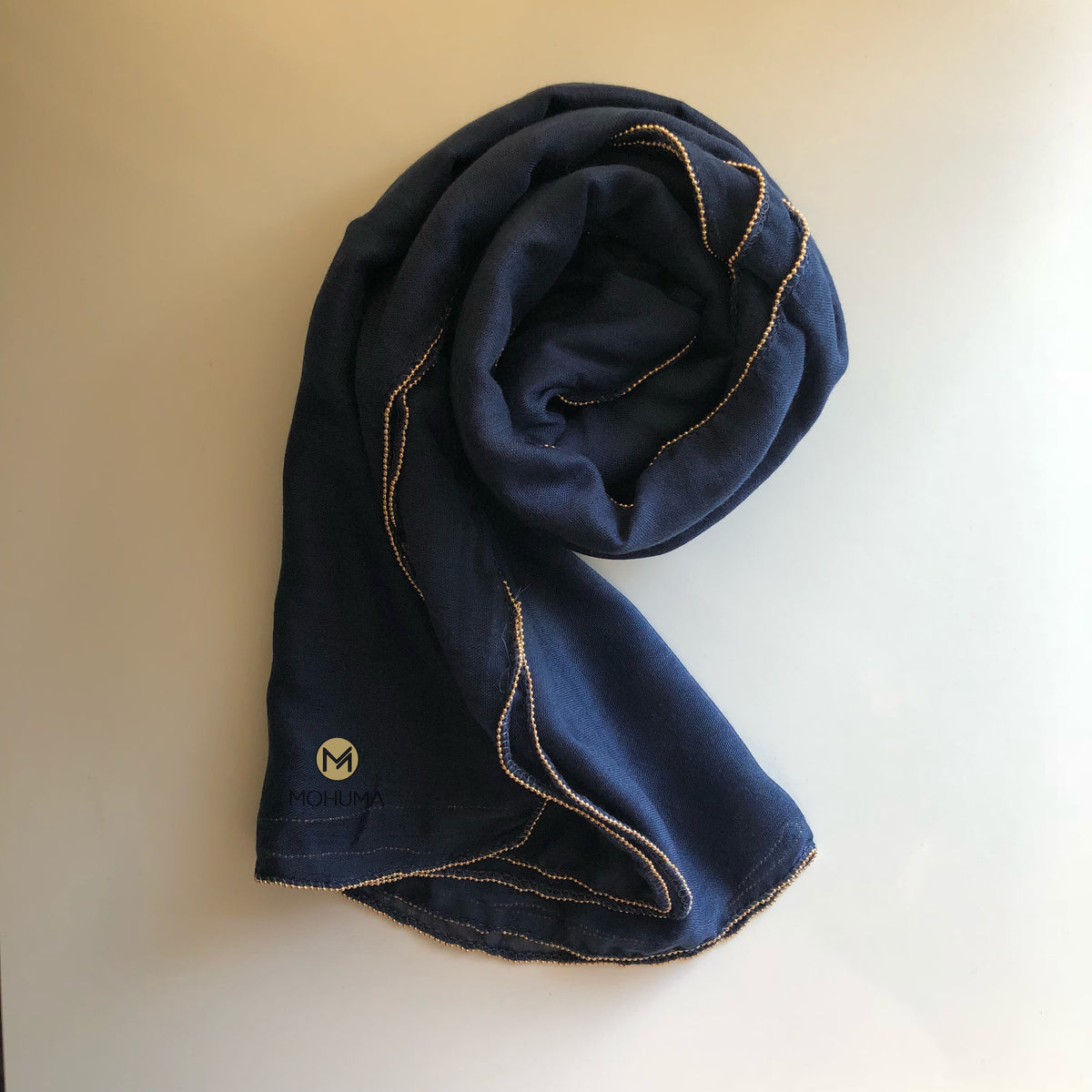 Gold Beaded Hijab | Navy - Mohuma Modesty House