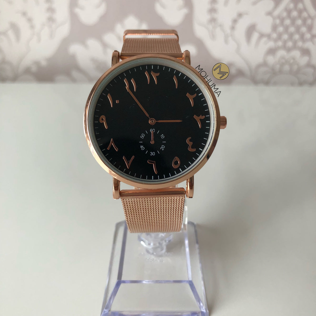 Arabic Numeral Mesh Watch | Rose Gold Black - Mohuma Modesty House