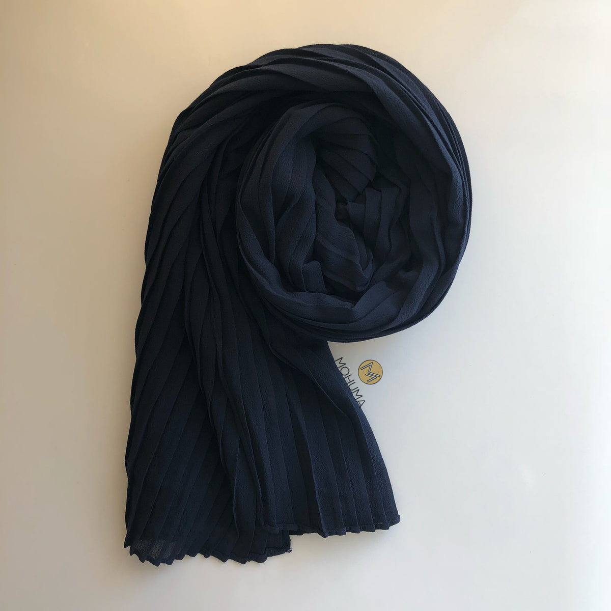 Chiffon Bold Pleated Hijab | Navy Blue - Mohuma Modesty House
