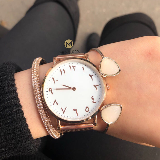 Arabic Numeral Mesh Watch | Rose Gold White