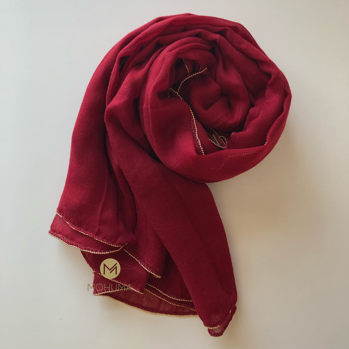 Gold Beaded Hijab | Maroon - Mohuma Modesty House