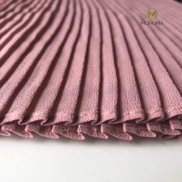 Chiffon Bold Pleated Hijab | Dusty Pink - Mohuma Modesty House