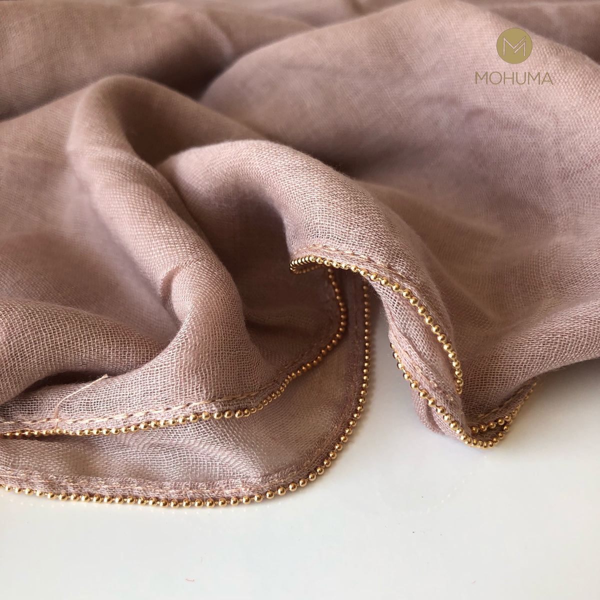 Gold Beaded Hijab | Nude - Mohuma Modesty House