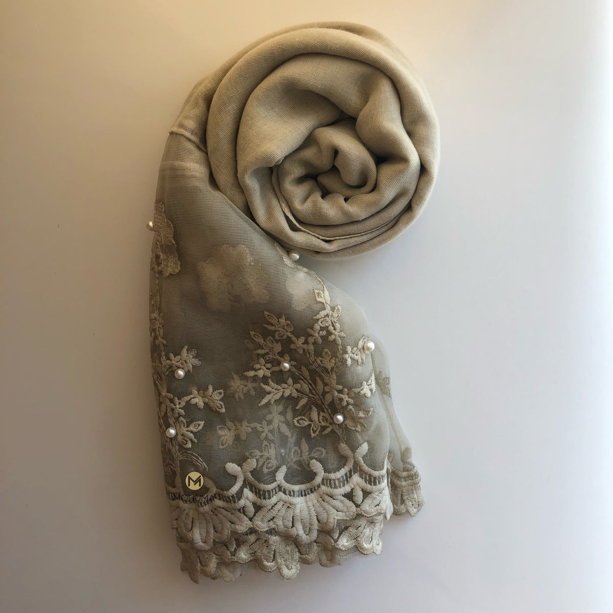 Luxurious Pearl Lace Hijab | Beige - Mohuma Modesty House