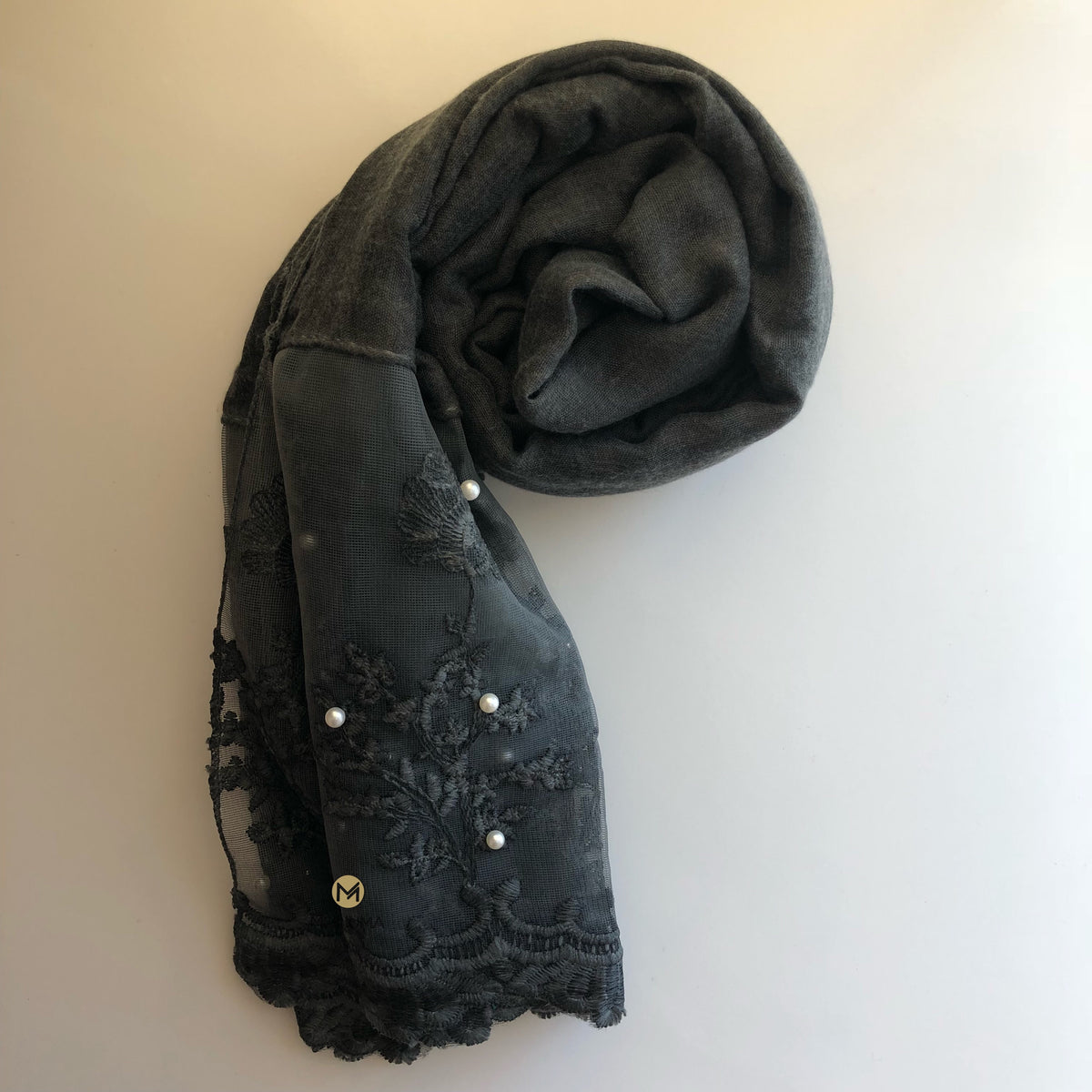 Luxurious Pearl Lace Hijab | Charcoal - Mohuma Modesty House