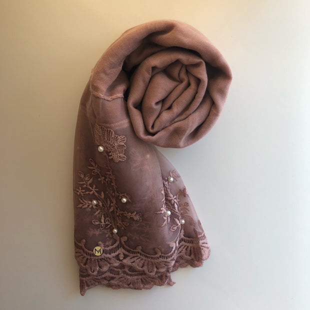 Luxurious Pearl Lace Hijab | Pink Petal - Mohuma Modesty House