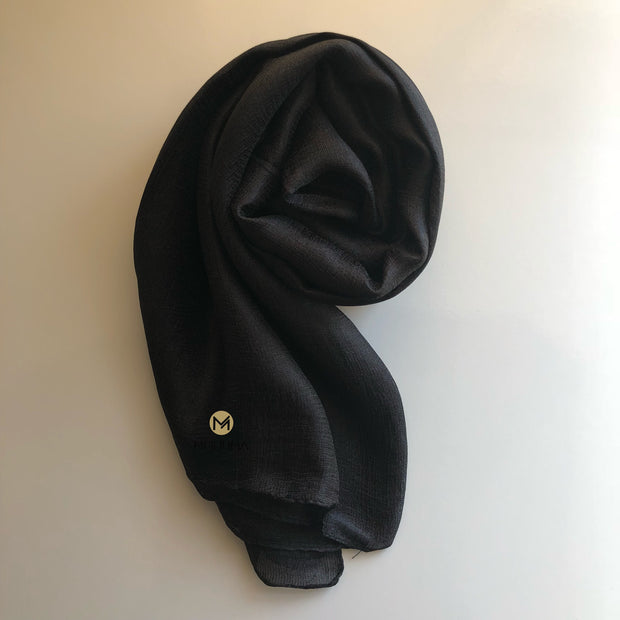 Silk Blend Hijab | Black - Mohuma Modesty House