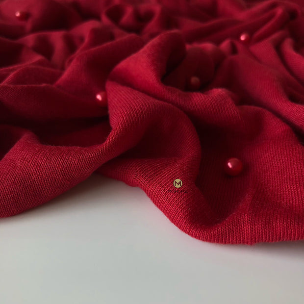 Pearl Jersey Hijab | Blood Red - Mohuma Modesty House