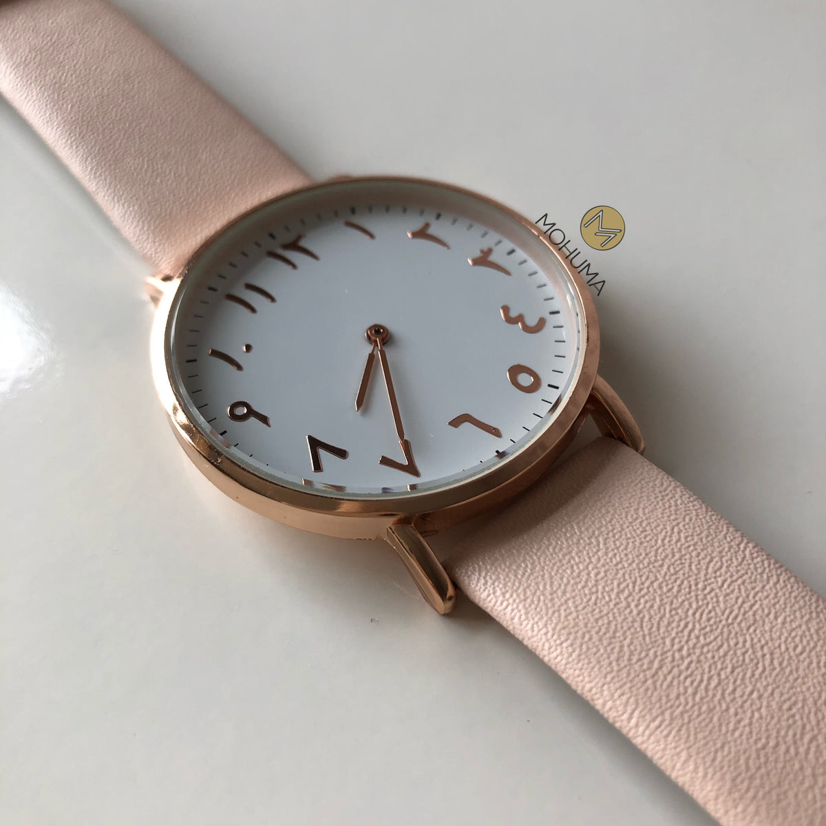 Arabic Numeral Belt Watch | Peach White - Mohuma Modesty House