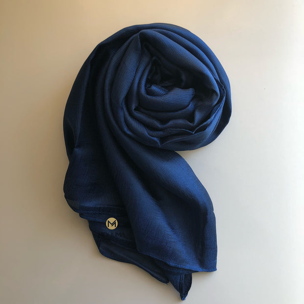 Silk Blend Hijab | Midnight Navy Blue - Mohuma Modesty House