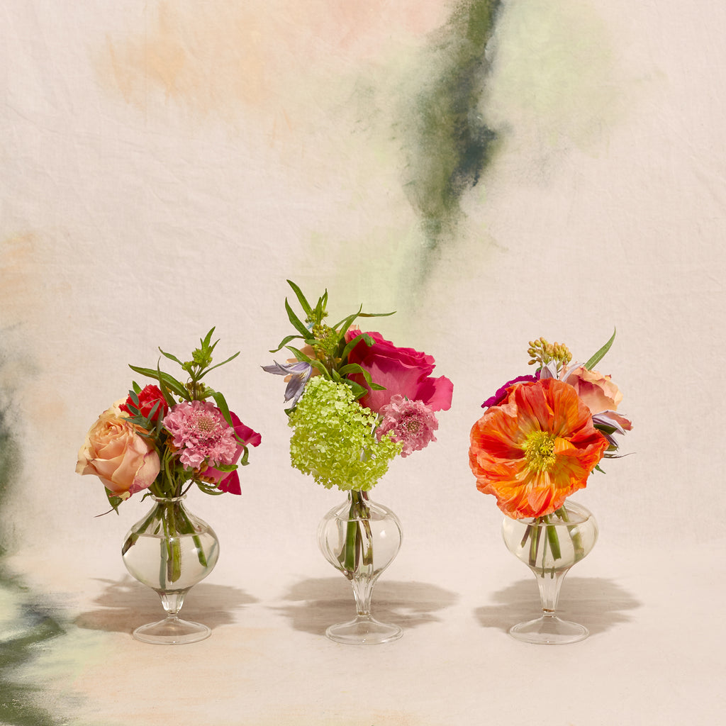 Rainbow Bright Trio of Bud Vase Posies