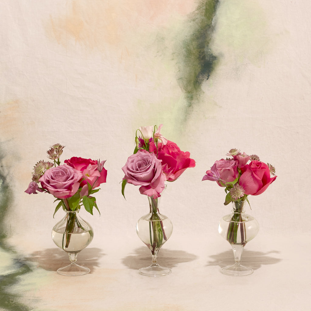 Romantic Pink Trio of Bud Vase Posies