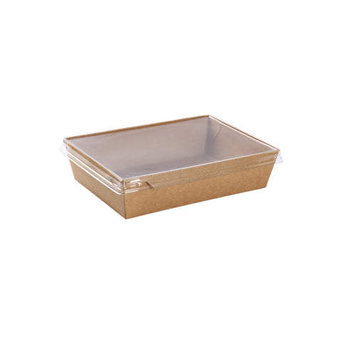 34oz Kraft Container with PET Lid - 100 Units
