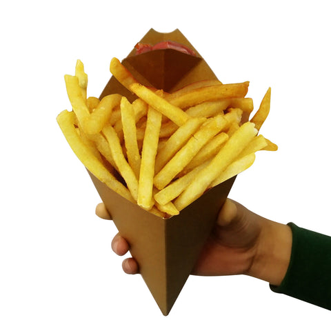 Small Kraft Cone with Sauce Holder - 500 Units
