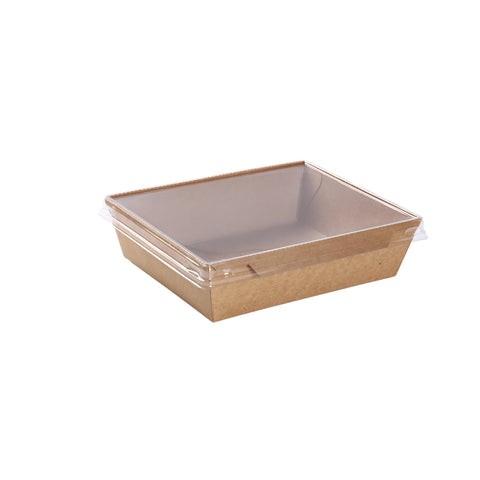 24oz Kraft Container with PET Lid - 100 Units