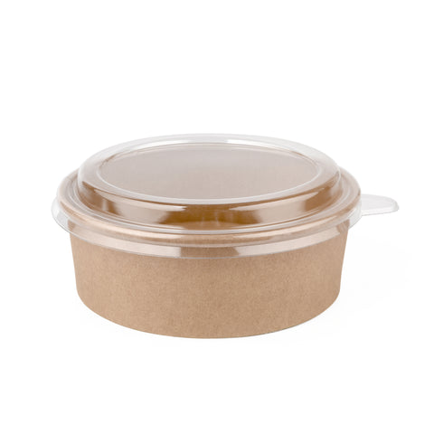 26oz Kraft Bowl with PET Lid - 300 Units