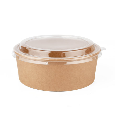 40oz Kraft Bowl with PET Lid - 300 Units -