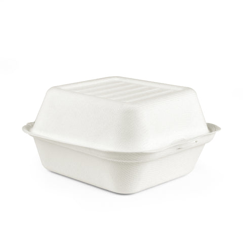 "6"" X 6"" Bagasse Clamshell Burger Box - 300 Units -"