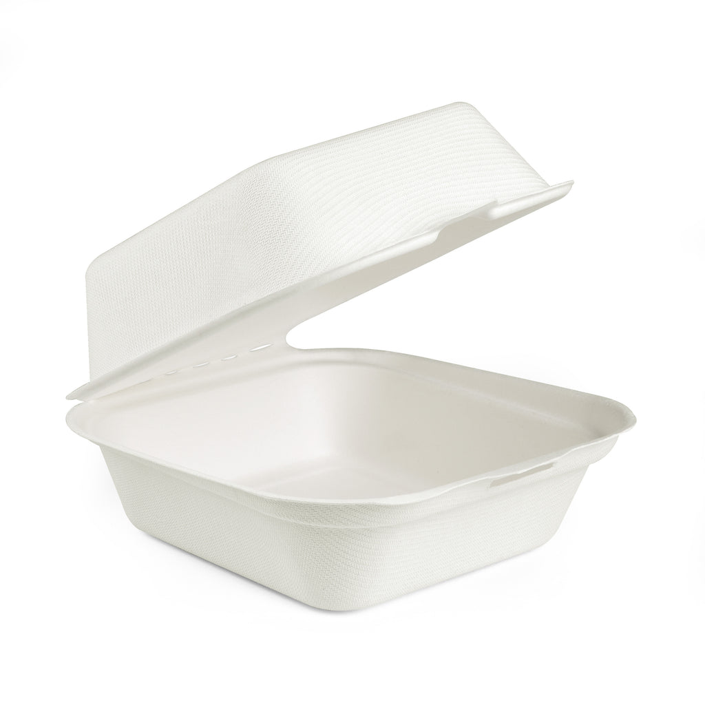 "6"" X 6"" Bagasse Clamshell Burger Box - 300 Units"