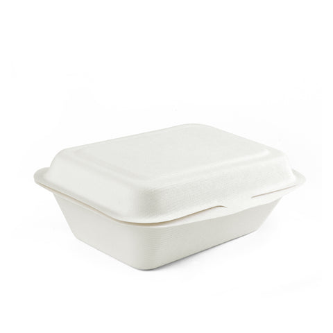 "7"" X 5"" Bagasse Clamshell Regular Box - 300 Units"