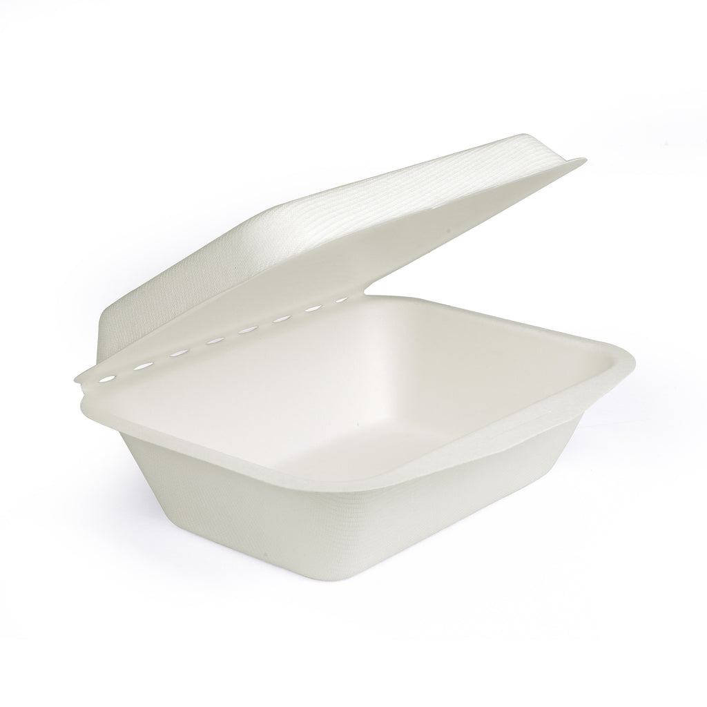 "7"" X 5"" Bagasse Clamshell Regular Box - 300 Units -"
