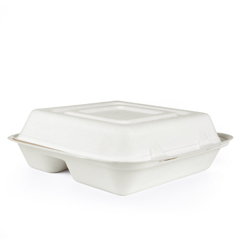 "10"" 3-Compartments Bagasse Clamshell Box - 250 Units -"