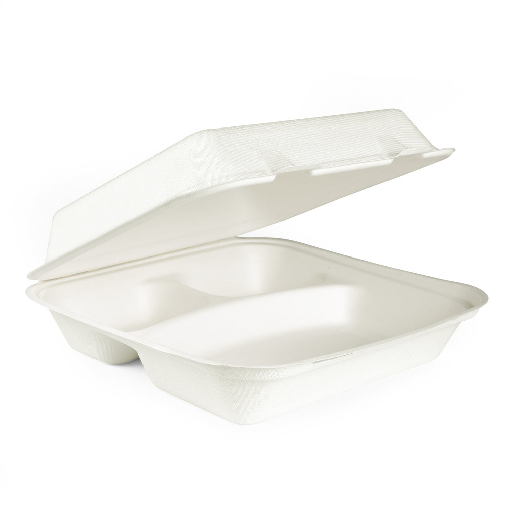 "10"" 3-Compartments Bagasse Clamshell Box - 250 Units"
