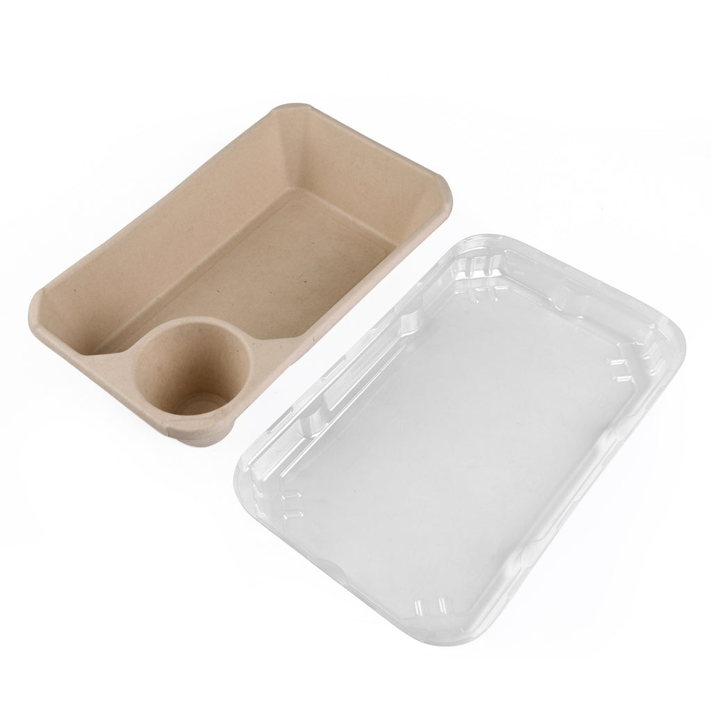 Large Tray with Sauce Compartment - 500 Units