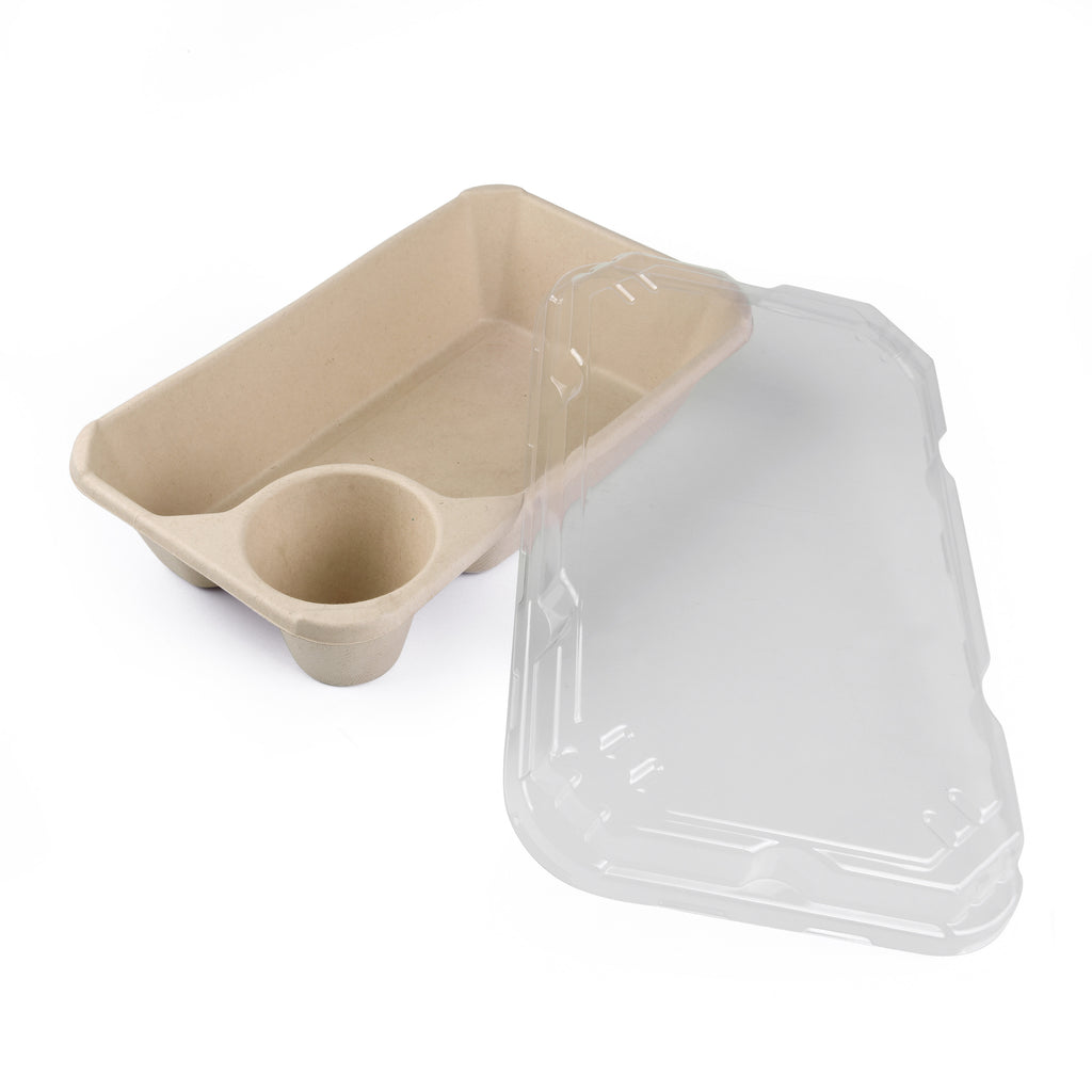 Large Tray with Sauce Compartment - 500 Units -