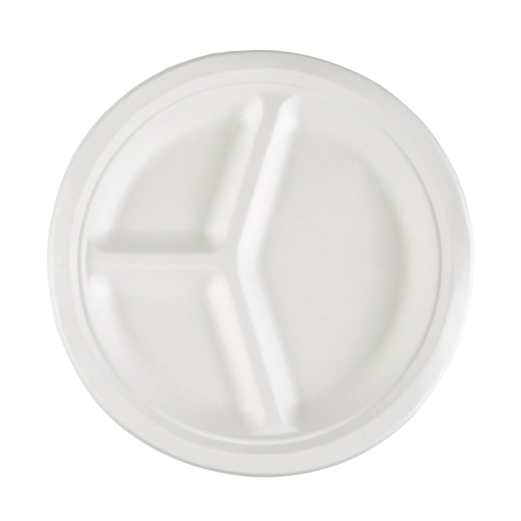 10inch 3-Compartments Bagasse Round Plate - 800 Units -