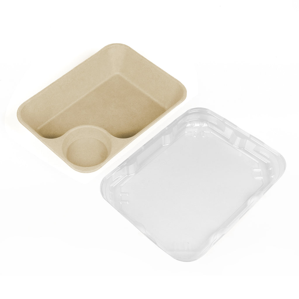 Small Tray with Sauce Compartment - 500 Units