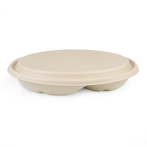 32oz 2-Compartments Tray with Lid - 500 Units
