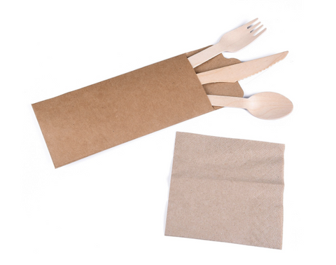 20 Individual Wood Cutlery sets with Napkin and Pouch