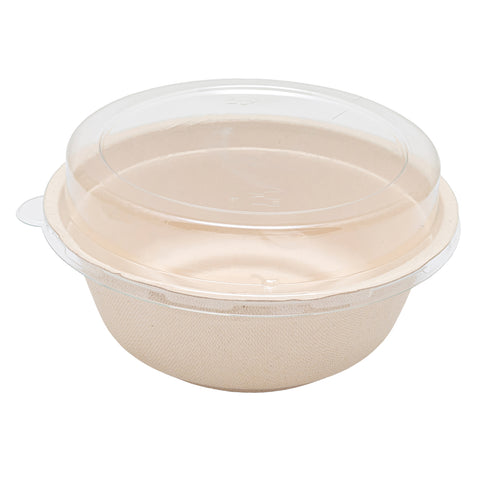 950ml Bagasse Bowl with Lid - 600 Units -
