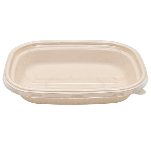 1100ml Bagasse Oval Container with Lid - 300 Units