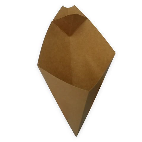 Large Kraft Cone with Sauce Holder - 500 Units