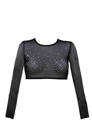 Long Sleeve Crystals Crop T-Shirt  / BLACK,TOPS - EXES LINGERIE