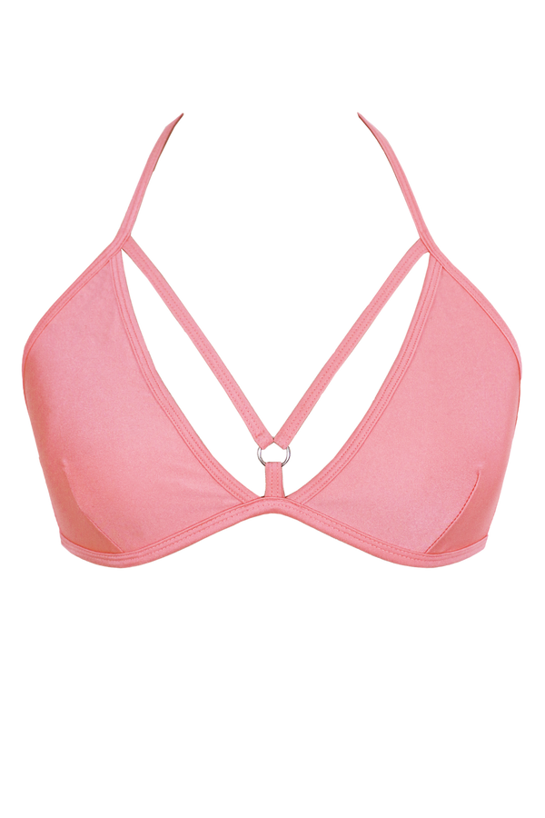 Strappy V-cup Bikini Top / LIGHT CORAL / AIMEE TOP SWIM - EXES LINGERIE