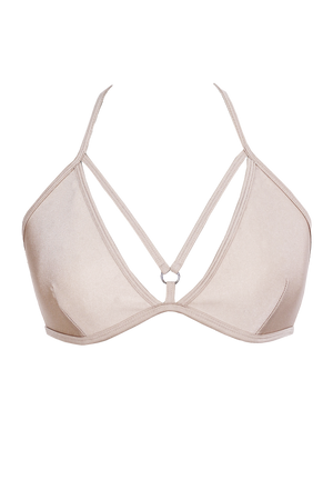 Strappy V-cup Bikini Top / NUDE / AIMEE TOP SWIM,TOPS - EXES LINGERIE