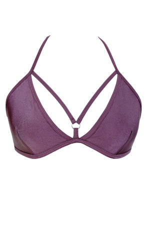 Strappy V-cup Bikini Top / GRAPE / AIMEE TOP SWIM - EXES LINGERIE