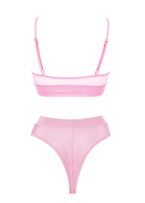 NEWAGE lingerie set CRYSTAL Top + BOND high waist thong / Mesh BABY PINK,SETS - EXES LINGERIE