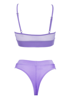 NEWAGE lingerie set CRYSTAL Top + BOND high waist thong / Mesh LILAC - EXES LINGERIE