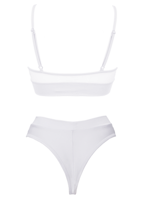 NEWAGE lingerie set CRYSTAL Top + BOND high waist thong / Mesh WHITE,SETS - EXES LINGERIE