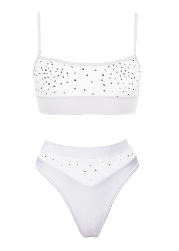 NEWAGE lingerie set CRYSTAL Top + BOND high waist thong / Mesh WHITE - EXES LINGERIE