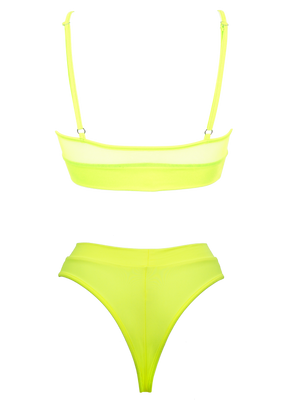 NEWAGE lingerie set CRYSTAL Top + BOND high waist thong / Mesh NEON YELLOW - EXES LINGERIE