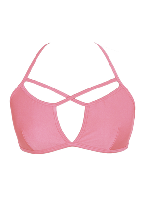 Sexy Strappy Bikini Top / LIGHT CORAL / XU-TOP SWIM - EXES LINGERIE