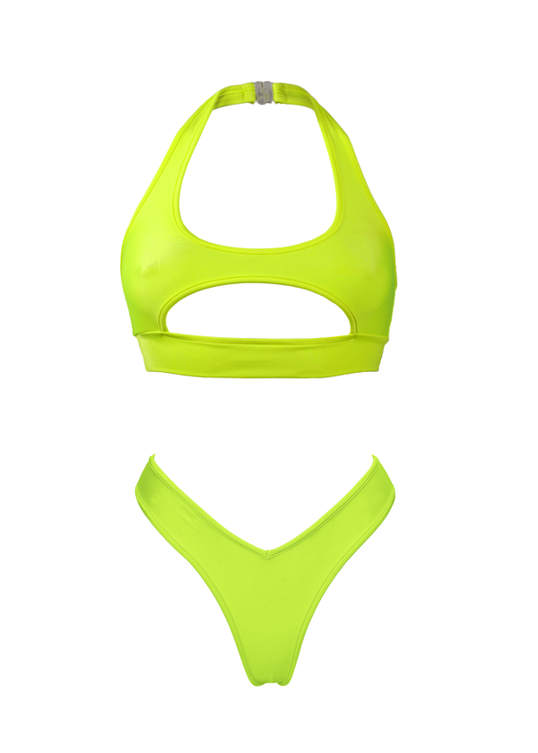 Cut-out TOP NINA + LULY THONG Swimwear Set/ NEON YELLOW - EXES LINGERIE