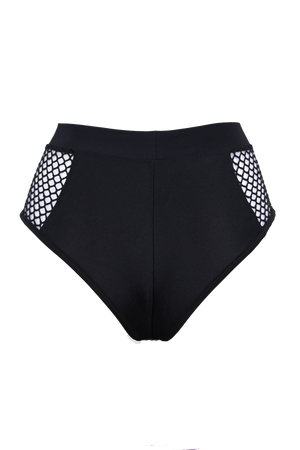 FISHNET BLACK HIGH-WAISTED BOTTOMS,BOTTOMS - EXES LINGERIE